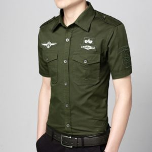 Fashion Casual Military Solid Color Pocket Short Sleeve Loose Turn-down Collar Shirt, Size:4XL(Army Green)
