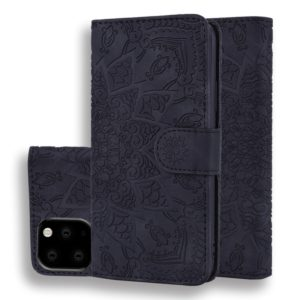 Calf Pattern Double Folding Design Embossed Leather Case with Wallet & Holder & Card Slots for iPhone 11 Pro Max (6.5 inch)(Black)