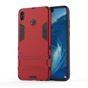 Shockproof PC + TPU Case for Huawei Honor 8X Max, with Holder (Red)