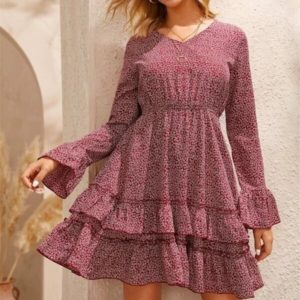 Floral Frill Sleeve Layered Skirt Dress (Color:As Show Size:M)