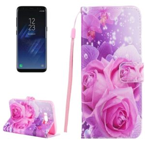 For Galaxy S8 Romantic Pink Rose Pattern Horizontal Flip Leather Case with Holder & Card Slots & Wallet