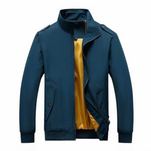 Solid Color Collage Long Sleeve Stand Collar Men Jacket (Color:Blue Size:XXL)