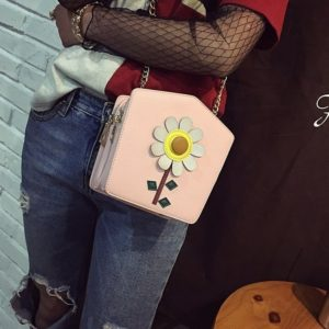 Flower PU Leather Shoulder Bag Ladies Handbag Messenger Bag (Pink)