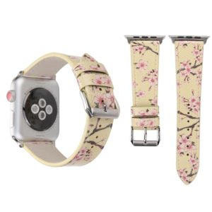 Fashion Plum Blossom Pattern Genuine Leather Wrist Watch Band for Apple Watch Series 3 & 2 & 1 42mm(Yellow)
