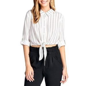 Striped Knotted Lapel Mid-sleeve Ladies Shirt (Color:White Size:L)