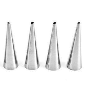 5 PCS Cone Roll Moulds Stainless Steel Spiral Nozzle Croissants Pastry Cream Horn Cake Mold(Small 8.8x2x2cm)