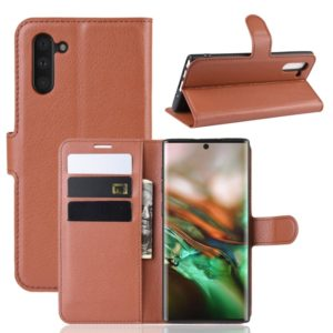 Litchi Texture Horizontal Flip Leather Case for Galaxy Note 10, with Wallet & Holder & Card Slots(Brown)