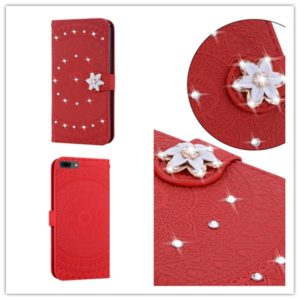 For iPhone XR Pressed Printing Sticking Drill Pattern Horizontal Flip PU Leather Case with Holder & Card Slots & Wallet & & Lanyard(Red)