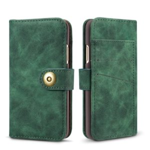 Magnetic Absorption Detachable Retro Style Horizontal Flip Leather Case for iPhone XS Max, with Card Slots & Wallet (Green)