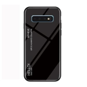 Gradient Color Glass Protective Case for Galaxy S10 Plus (Black)