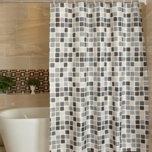 Waterproof And Mildew Curtain Plaid Texture Polyester Cloth Shower Curtain Bathroom Curtains, Size:80x180cm