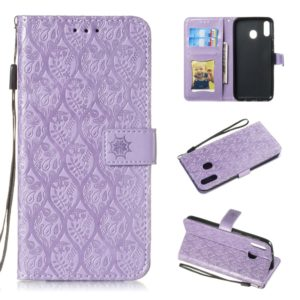 Pressed Printing Rattan Flower Pattern Horizontal Flip PU Leather Case for Galaxy M20, with Holder & Card Slots & Wallet & Photo Frame (Purple)