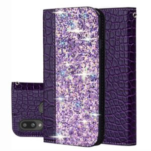 For Galaxy A10s Crocodile Texture Glitter Powder Horizontal Flip Leather Case with Card Slots & Holder(Purple)