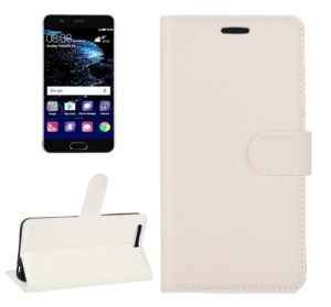For Huawei P10 Litchi Texture Horizontal Flip Leather Case with Magnetic Buckle & Holder & Card Slots & Wallet(White)