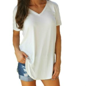 V-neck Short-sleeved Irregular Pocket T-shirt, Size: S(White)