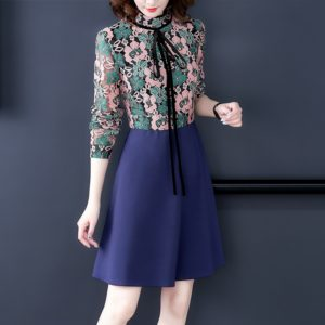 Splicing Long Sleeve Slim Dress, Size:S(As Show)