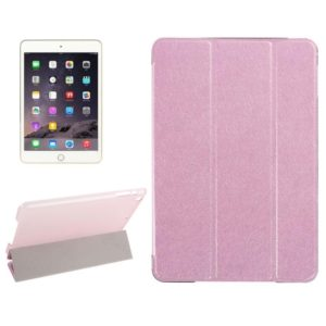 Silk Texture Horizontal Flip Leather Case with Three-Folding Holder for iPad Mini 2019(Pink)