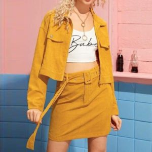 Corduroy With Skirt Solid Color Long Sleeve Suit (Color:Yellow Size:M)