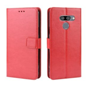 Retro Crazy Horse Texture Horizontal Flip Leather Case for LG K50 /LG Q60, with Holder & Card Slots & Photo Frame(Red)