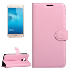 For Huawei Honor 5C Litchi Texture Horizontal Flip Leather Case with Magnetic Buckle & Holder & Card Slots & Wallet(Pink)