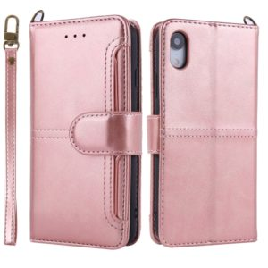 For iPhone XR Lambskin Texture Horizontal Flip PU Leather Case with Holder & Card Slots & Frame & Lanyard(Rose Gold)