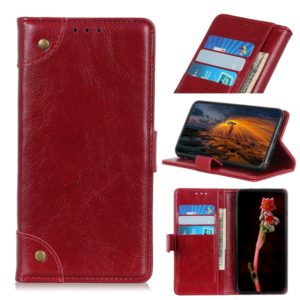 Copper Buckle Nappa Texture Horizontal Flip Leather Case with Holder & Card Slots & Wallet for LG W30(Wine Red)