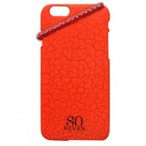 SO SEVEN IPHONE 6 6s Orange Cracked Color +bracelet backcover