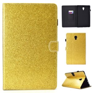 For Galaxy Tab A 10.5 T590 Varnish Glitter Powder Horizontal Flip Leather Case with Holder & Card Slot(Gold)