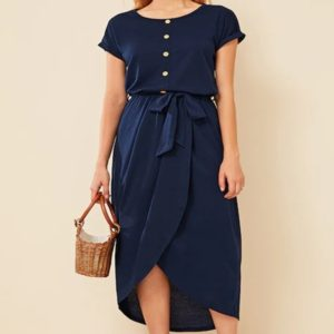 Multi-button Casual Dress (Color:Dark Blue Size:M)