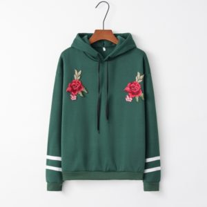 Hooded Long Sleeve Casual Loose Rose Embroidered Sweatshirt (Color:Green Size:S)