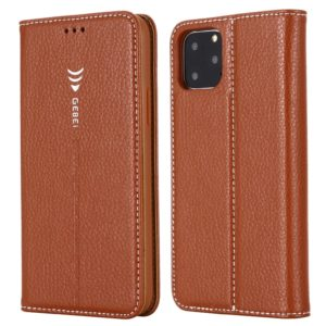 For iPhone 11 Pro Max GEBEI PU+TPU Horizontal Flip Protective Case with Holder & Card Slots(Brown) (GEBEI)