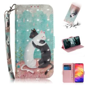 3D Coloured Drawing Horizontal Flip Leather Case with Holder & Card Slots & Wallet For Redmi Note 7(Black White Cat )