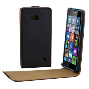 Vertical Flip Magnetic Button Leather Case for Microsoft Lumia 640(Black)