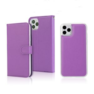 For iPhone 11 Pro Separable Cross Texture Flip Leather Case with Holder & Card Slot & Wallet(Purple)