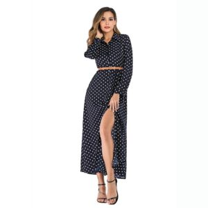 Dot In Single-breasted Collar Skirt Waist Jumpsuit (Color:Navy Blue Size:L)