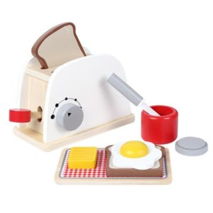 Wood Pretend Play Kitchen Role Play Game Learning Toy Simulation Toasters Bread Set for Children