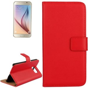 For Galaxy S6 / G920 Cowhide Split Leather Protective Case with Holder & Card Slots (Red)