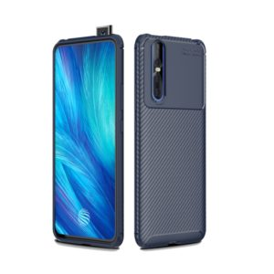 Carbon Fiber Texture Shockproof TPU Case for VIVO X27 (Blue)