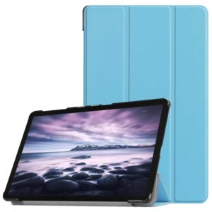Custer Texture Horizontal Flip PU Leather Case for Galaxy Tab A 10.5 / T595 & T590, with Three-folding Holder & Sleep / Wake-up Function (Blue)