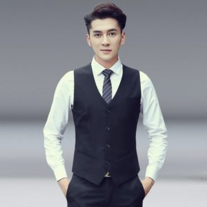 Men Vest Slim Korean Work Clothes Suit Vest Groomsmen Professional Wear Men Vest, Size: S(Black)