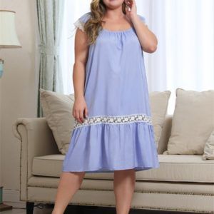 Square Lace Short Sleeve Loose Dress Lace Panel Large Size Long Skirt (Color:Blue Size:XL)