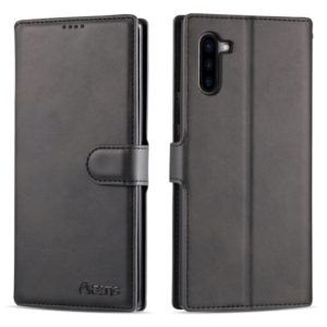 For Galaxy Note 10 AZNS Calf Texture Magnetic Horizontal Flip PU Leather Case with Holder & Card Slots & Photo Frame(Black) (AZNS)