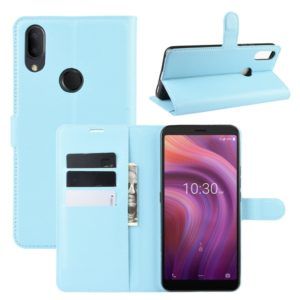 For Alcatel 3V 2019 Litchi Texture Horizontal Flip Leather Case with Wallet & Holder & Card Slots(Blue)