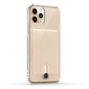 For iPhone 11 Pro Max Shockproof TPU Protective Case with Card Slot(Transparent)