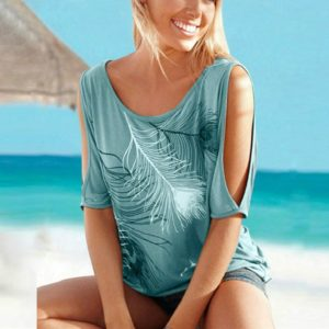 Casual Short Sleeve Tops Tees Sexy Off Shoulder Feather Print O-neck Loose Shirts for Women, Size:M(Green)