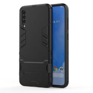 Shockproof PC + TPU Case for Samsung Galaxy A70, with Holder(Black)