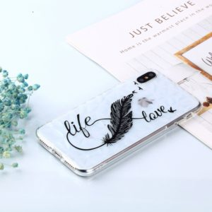 Feather Pen Pattern Diamond Texture Oil Embossed TPU Case for iPhone XS Max