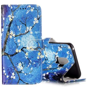 For Galaxy S9+ Gloss Oil Embossed Blue Flower Pattern Horizontal Flip Leather Case with Holder & Card Slots & Wallet