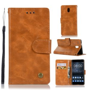 For Nokia 3 Retro Copper Buckle Crazy Horse Horizontal Flip PU Leather Case with Holder & Card Slots & Wallet & Lanyard(Gold yellow)