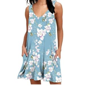 V-neck Print Sleeveless Vest Pocket Dress Casual Knee-length Skirt, Size: S(Lily Light Blue)